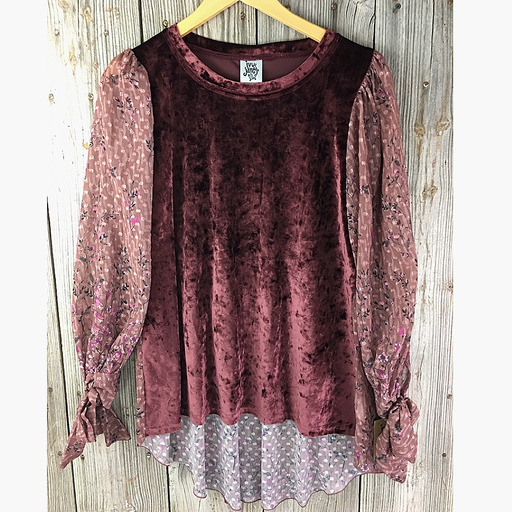 Ladies Long Sleeve Top with Velvet Bodice from Ivy Jane