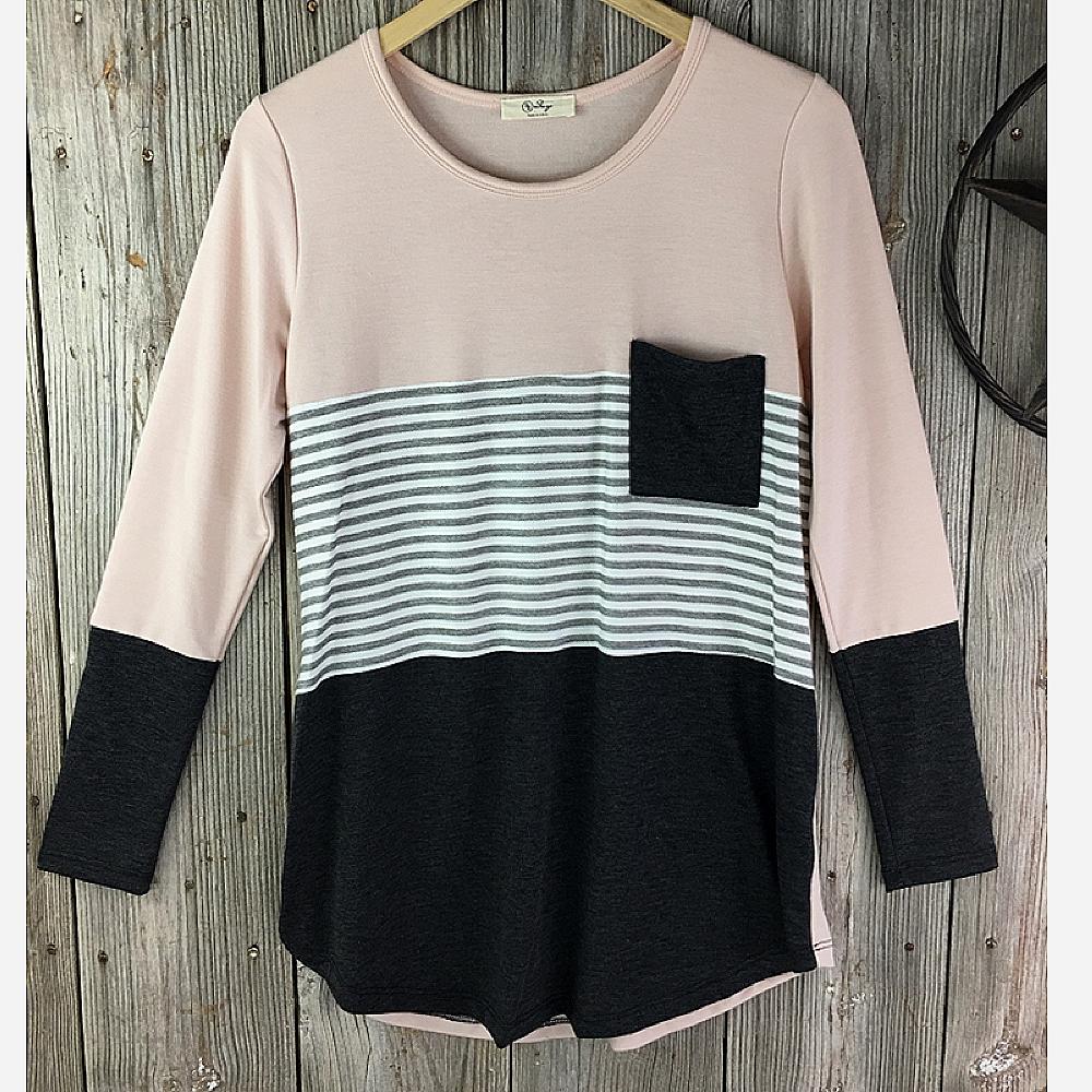 Ladies Striped Print Knit Top