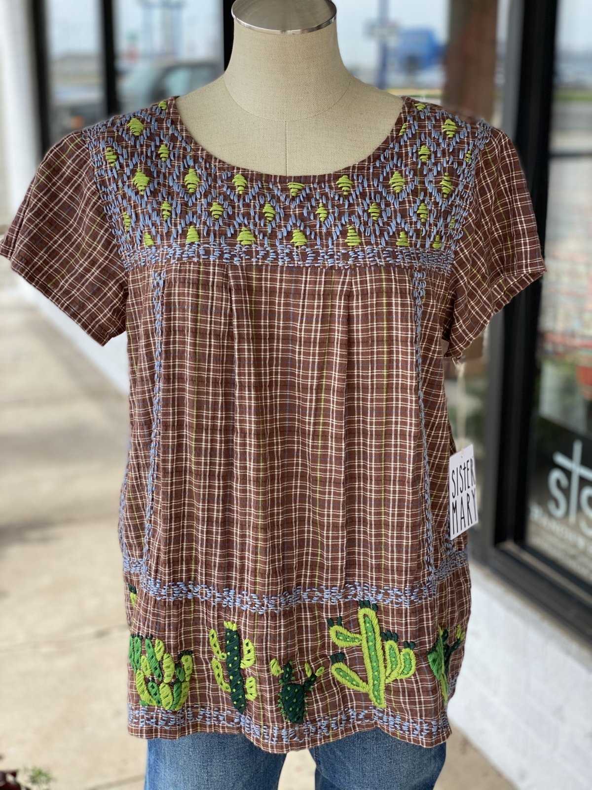 Lupita Cactus Embroidered Top from Sister Mary