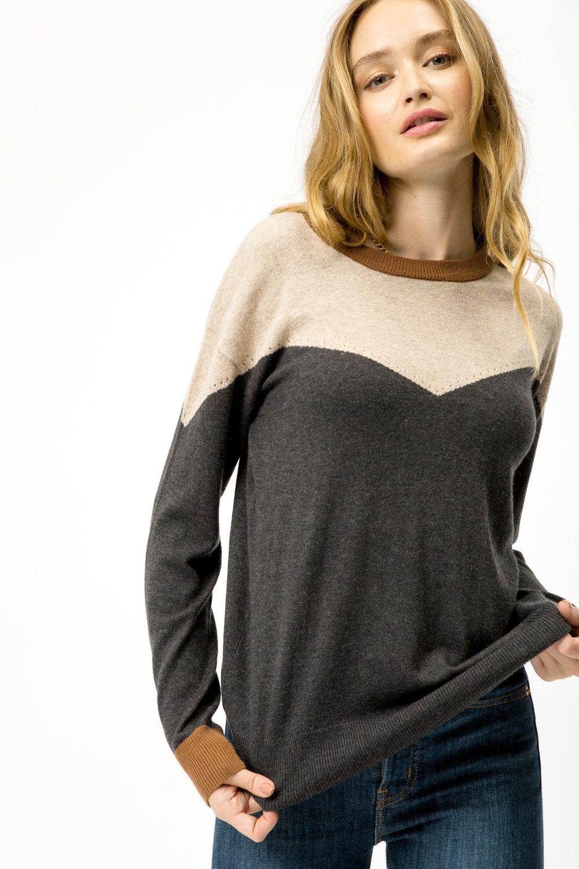 Yoke Color Block Sweater from Mystree