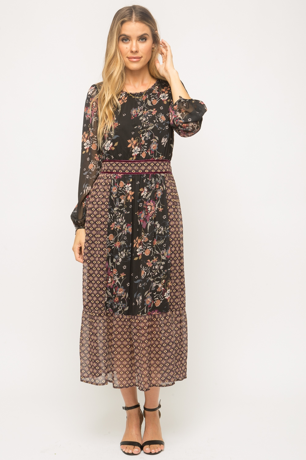 Mix Print Long Sleeve Dress from Mystree
