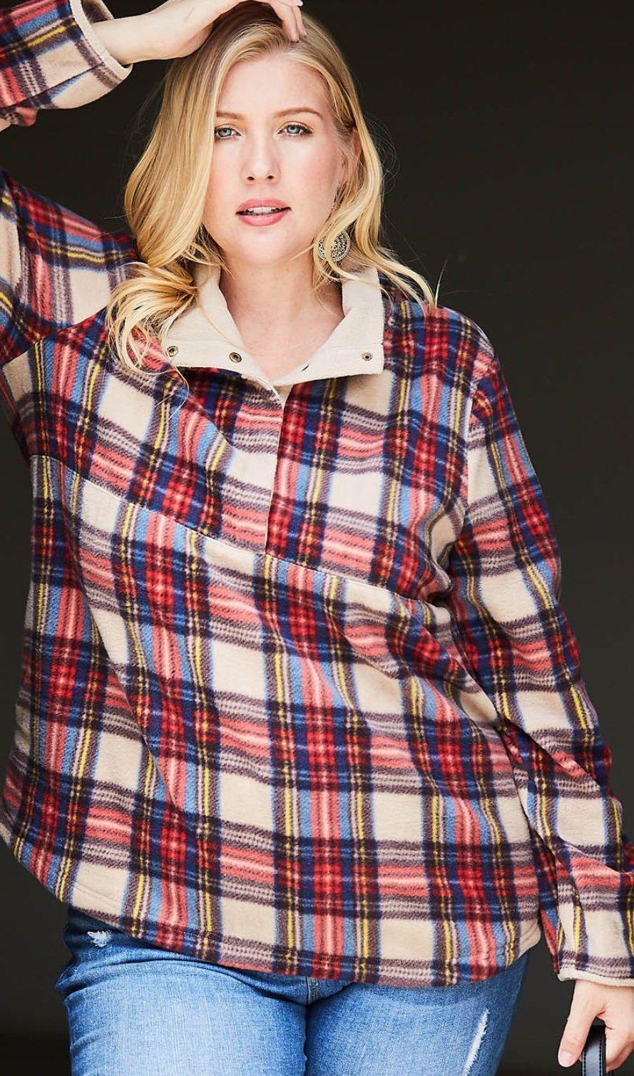 Ladies Plaid Fleece Pullover