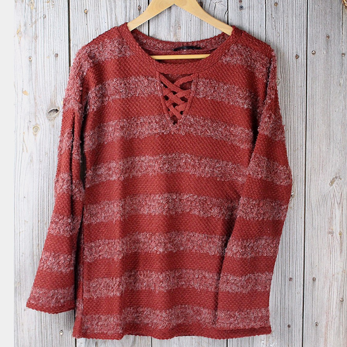 Boucle Sweater with Criss Cross Front