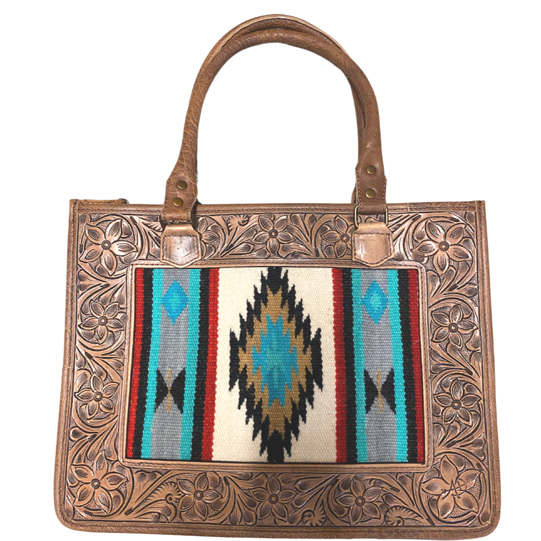Saddle Blanket Inlay with Tooled Edge Box Purse from American Darling