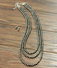 3-Strand Western Pearl Necklace with Earrings