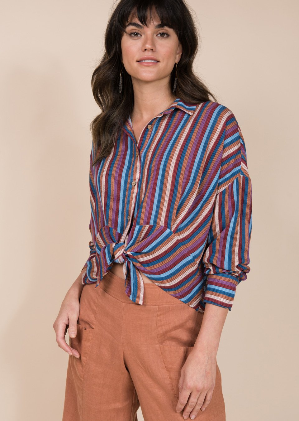 Striped Tie Front Top from Ivy Jane