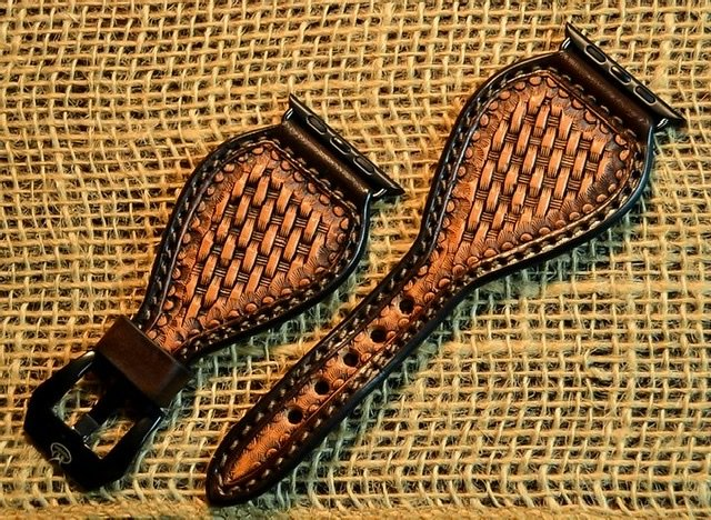 Basket Stamped Leather Watchband