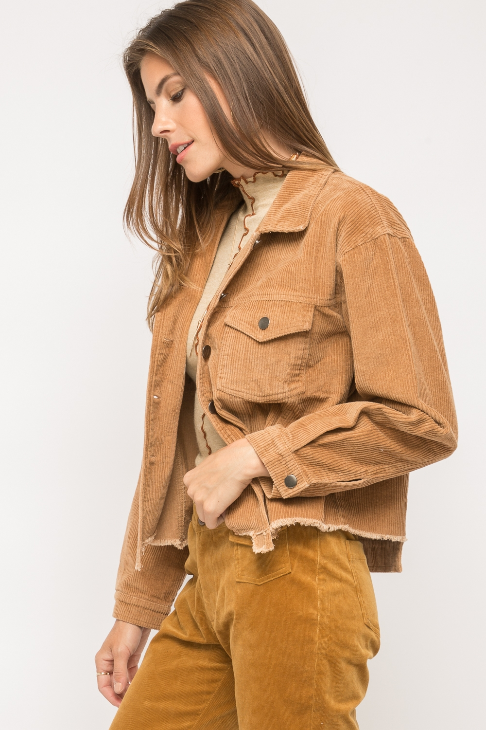 Stone Washed Corduroy Crop Jacket from Mystree