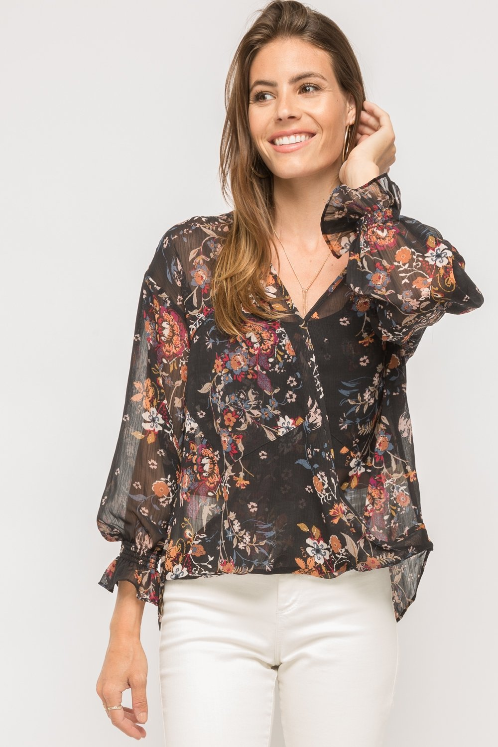 Crossover Hi/Low Printed Blouse from Mystree