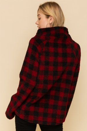 Gingham Fleece Pullover from Hem  & Thread