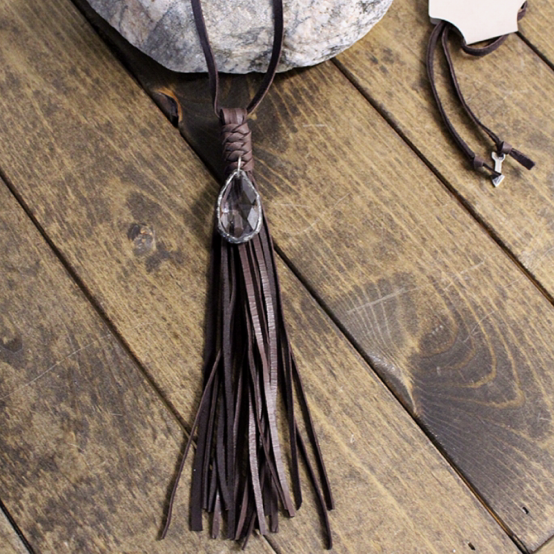 Plain Leather Tassel Necklace with Crystal