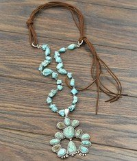 Squash Blossom Naja Necklace with Leather Cord