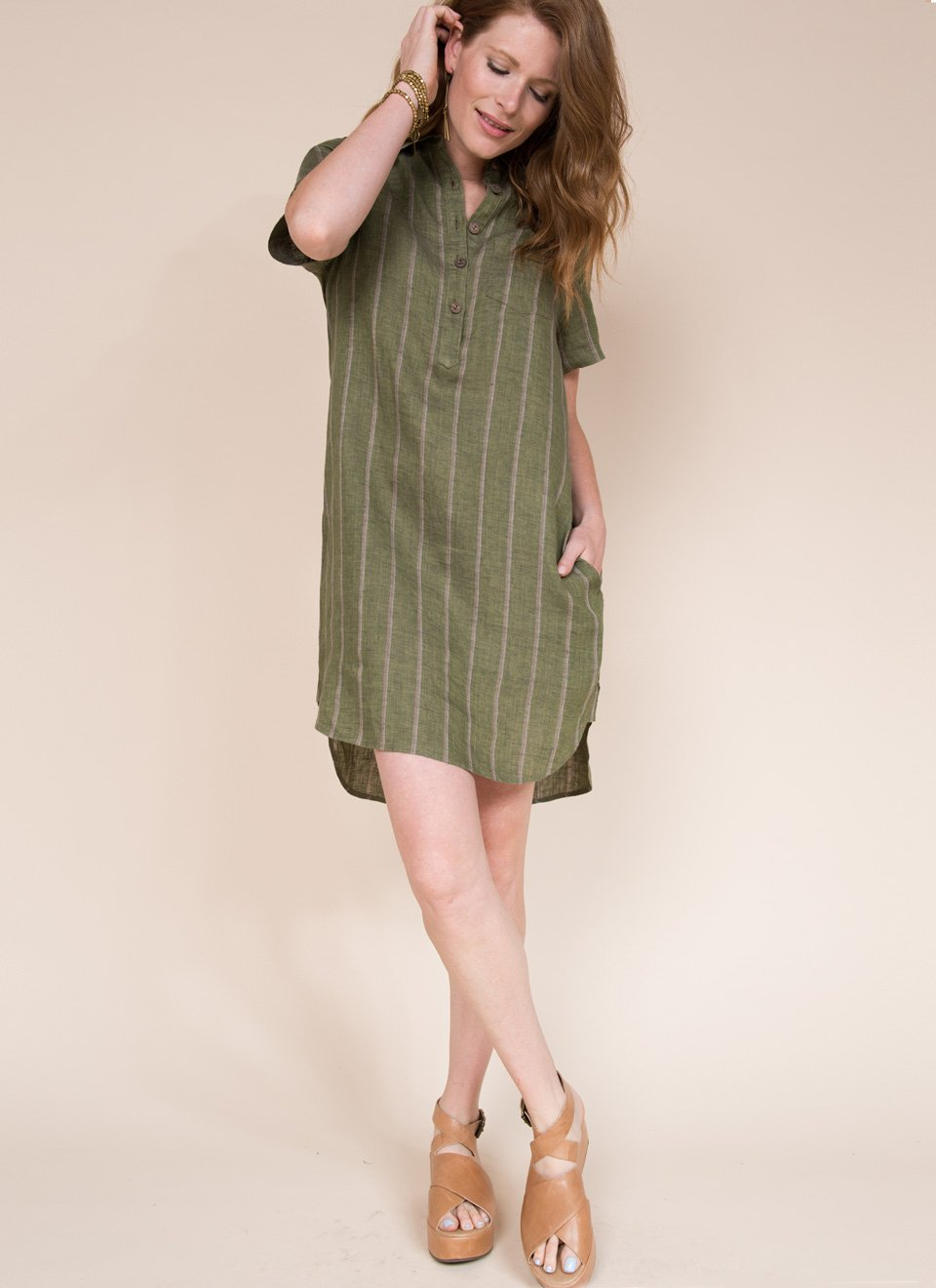 Shirt Dress with Tail Hem and Placket from Uncle Frank