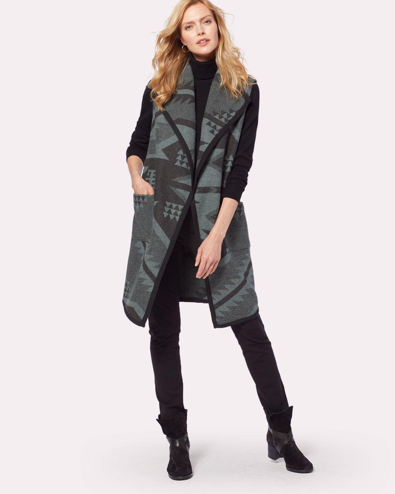 Carly Desert Sky Long Wool Vest from Pendleton