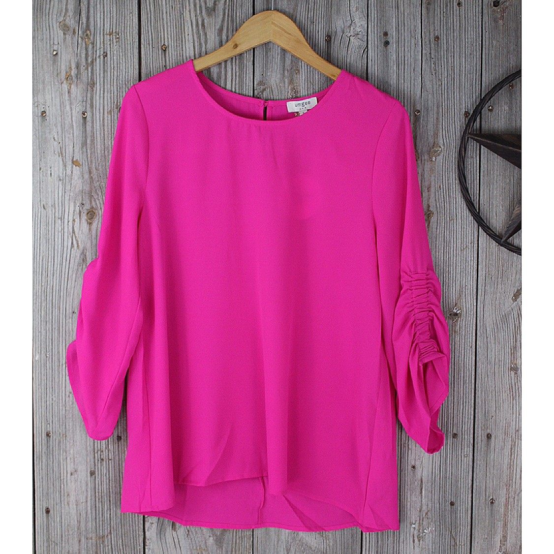 3/4 Gathered Sleeve Top-Hot Pink