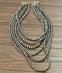6-Strand Navajo Pearl Necklace with Earrings