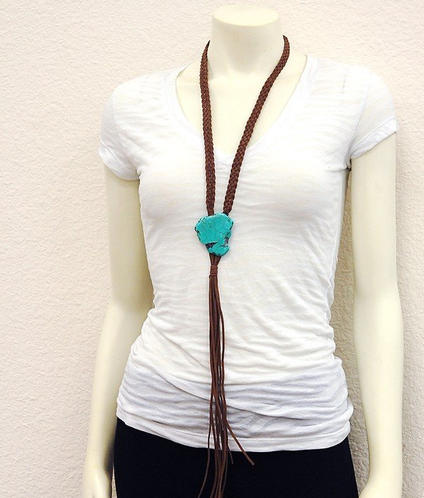Braided Leather Boho Necklace with TQ Stone