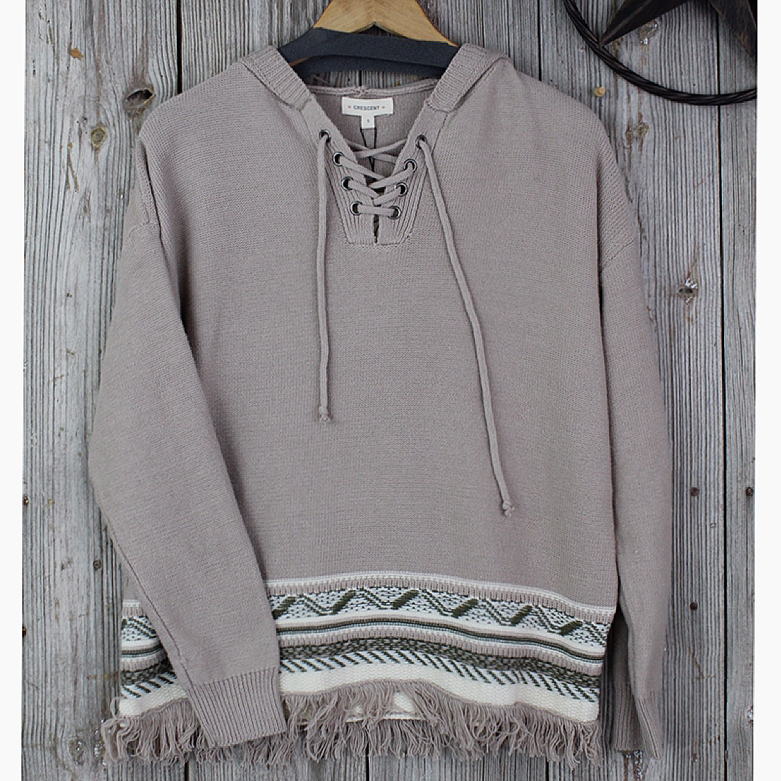 Hooded Sweater with Fringe Hem