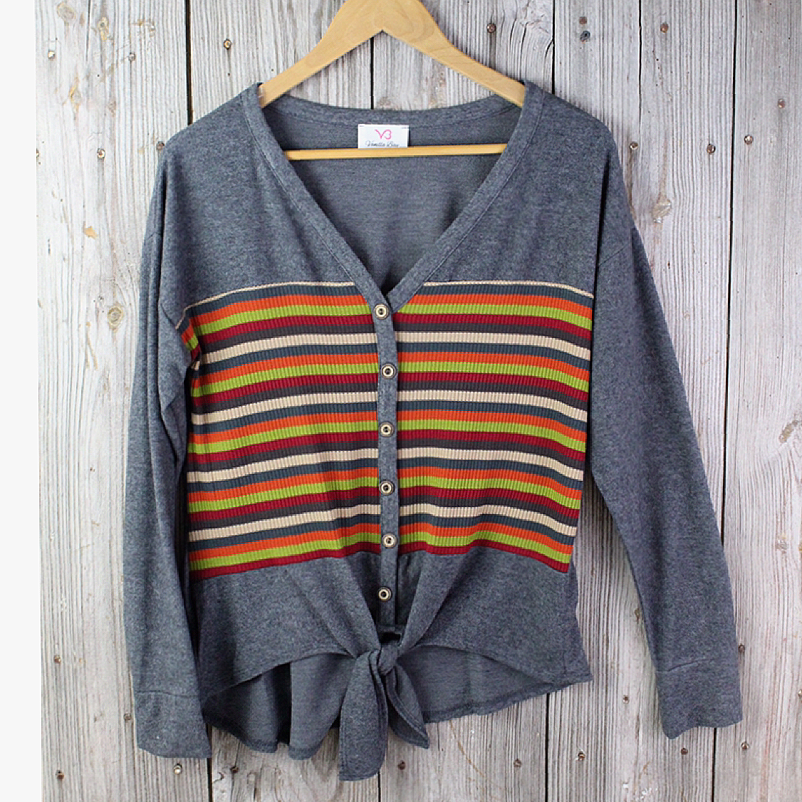 Button Front Sweater with Tie Waist