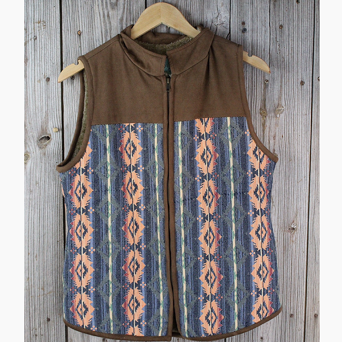 Aztec Vest with Embroidered Back Detail