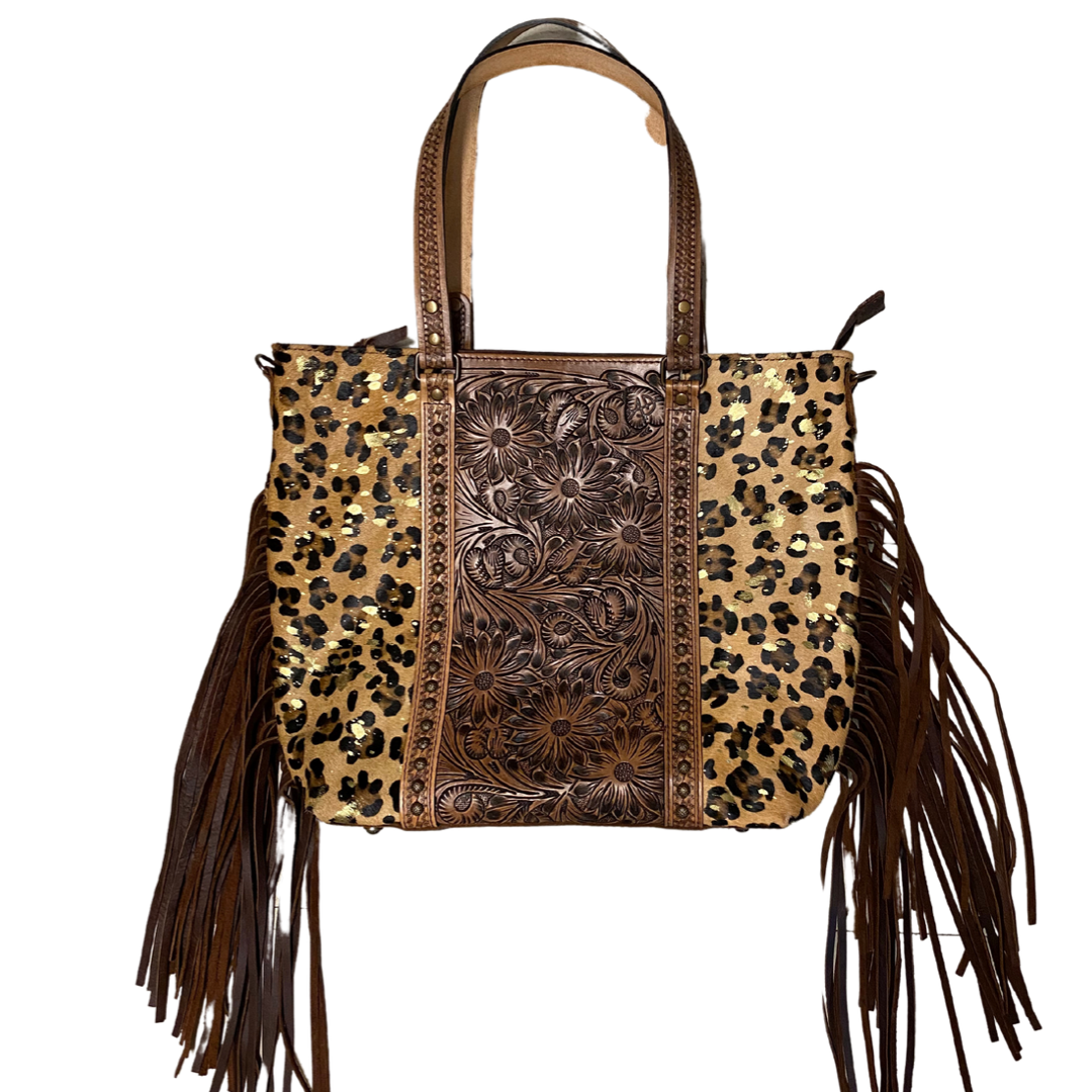 Floral Tooled with Studs Metallic Cheetah Hair on with Fringe from American Darling