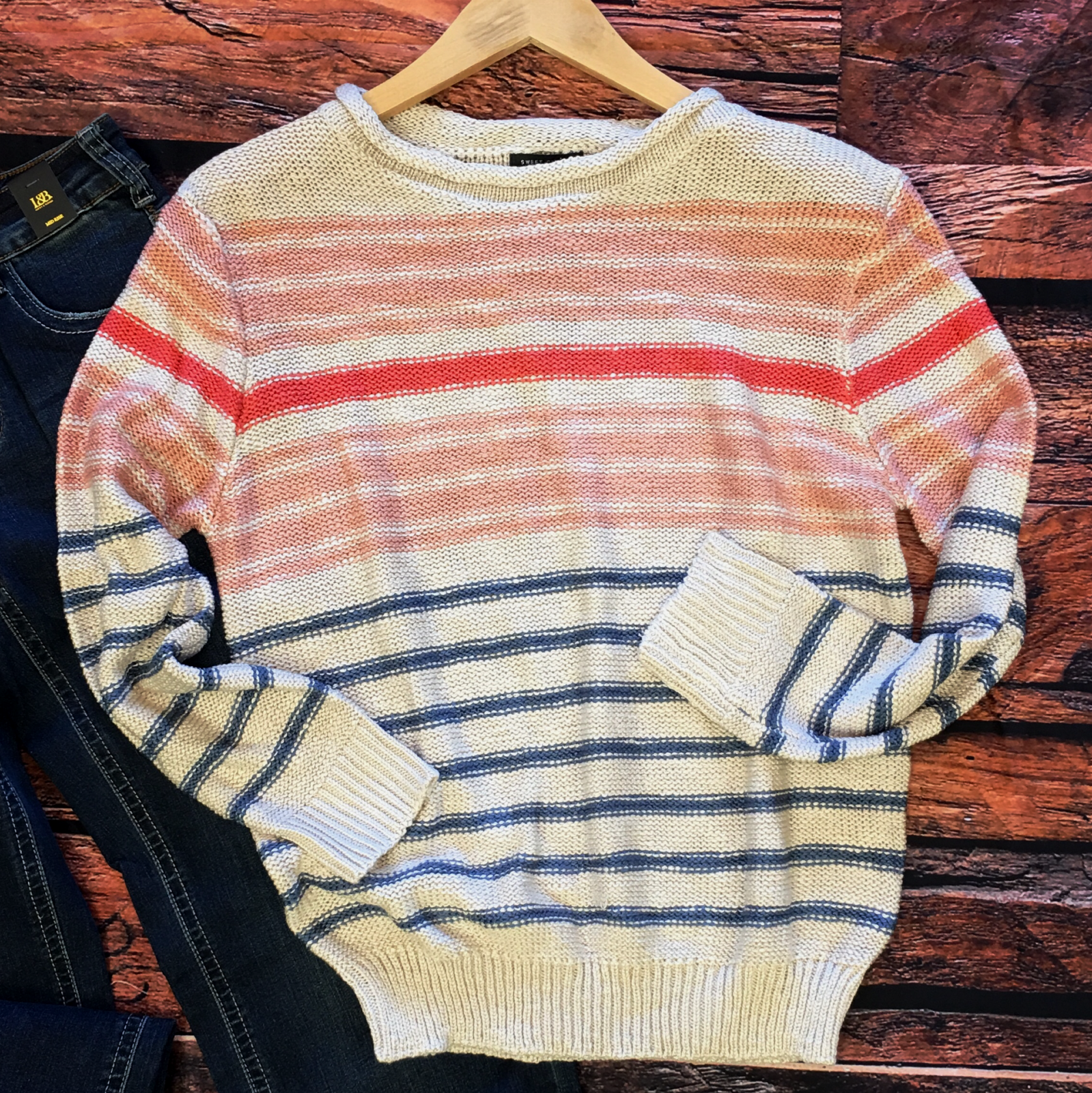 Dual Color Striped Knit Sweater