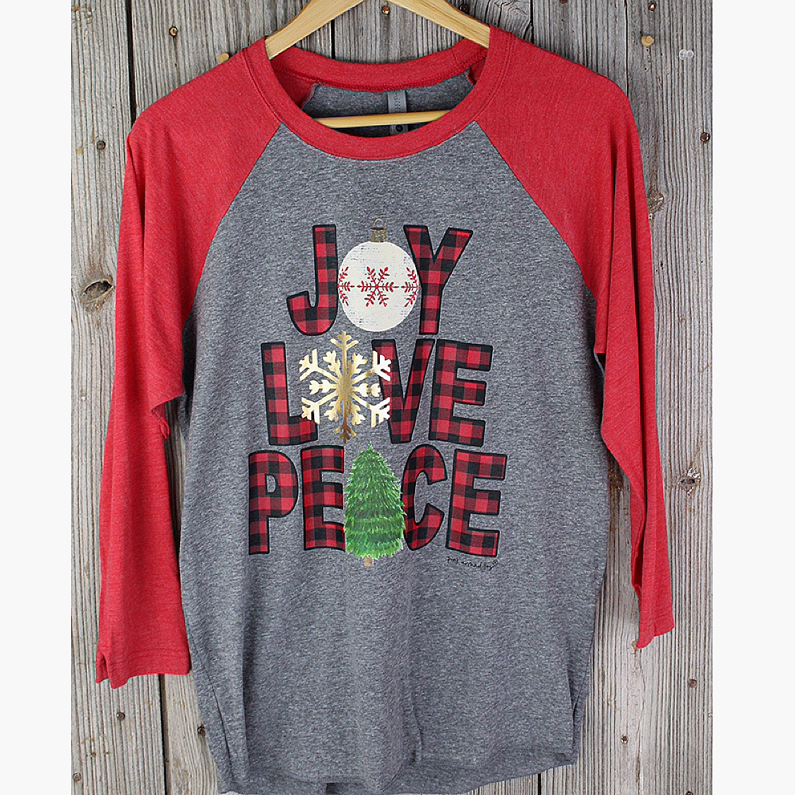 Joy Love Peace Christmas Baseball Shirt