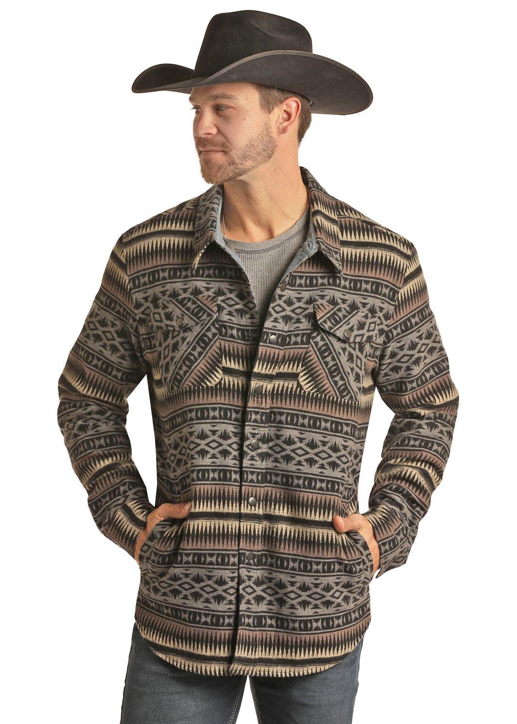 Jacquard Aztec Shirt Jacket from Panhandle