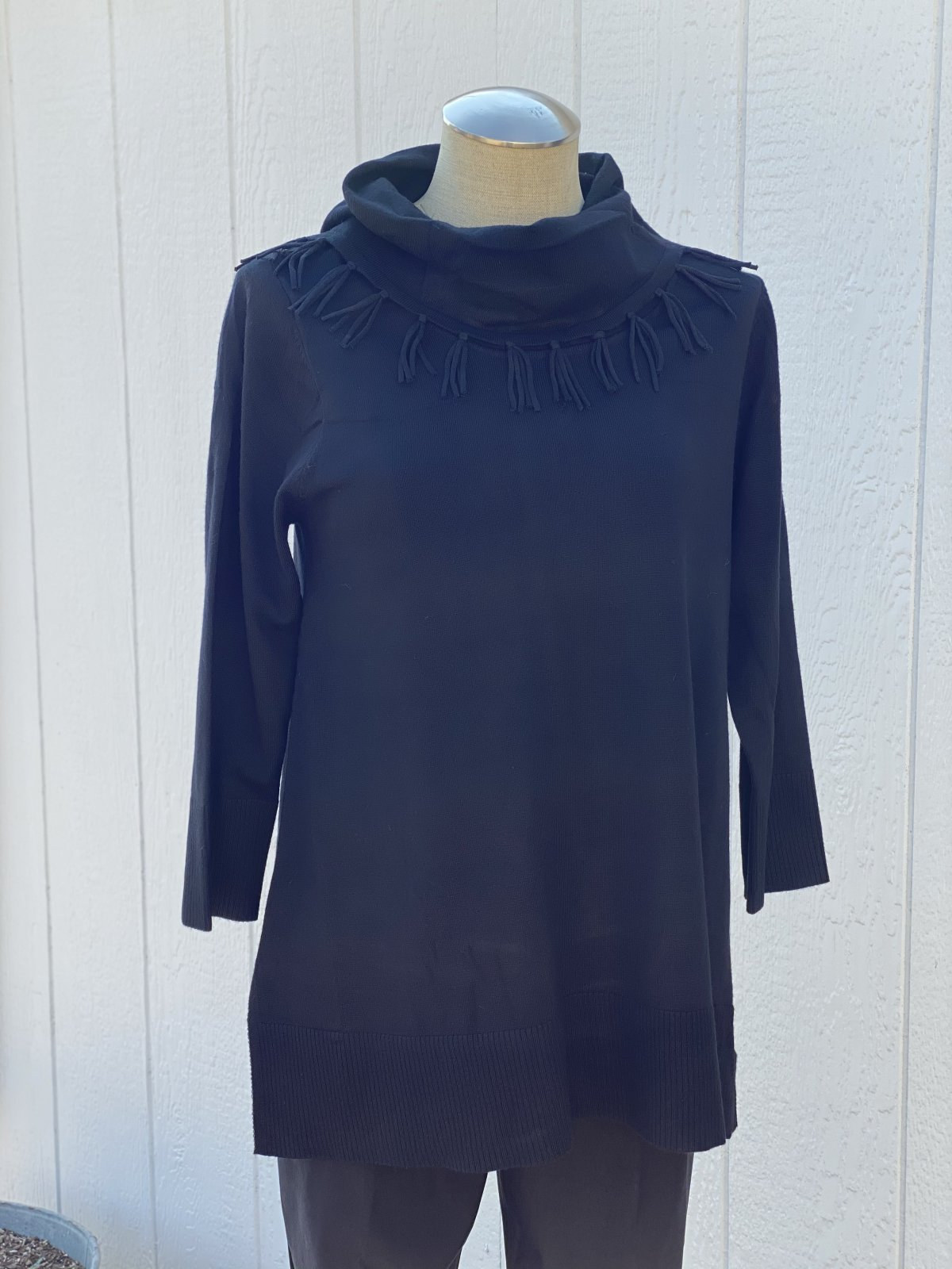 3/4 Sleeve Fringe Cowl Neck Lightweight Sweater from Multiples