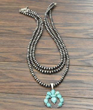 3-Strand Squash Blossom Necklace with Earrings