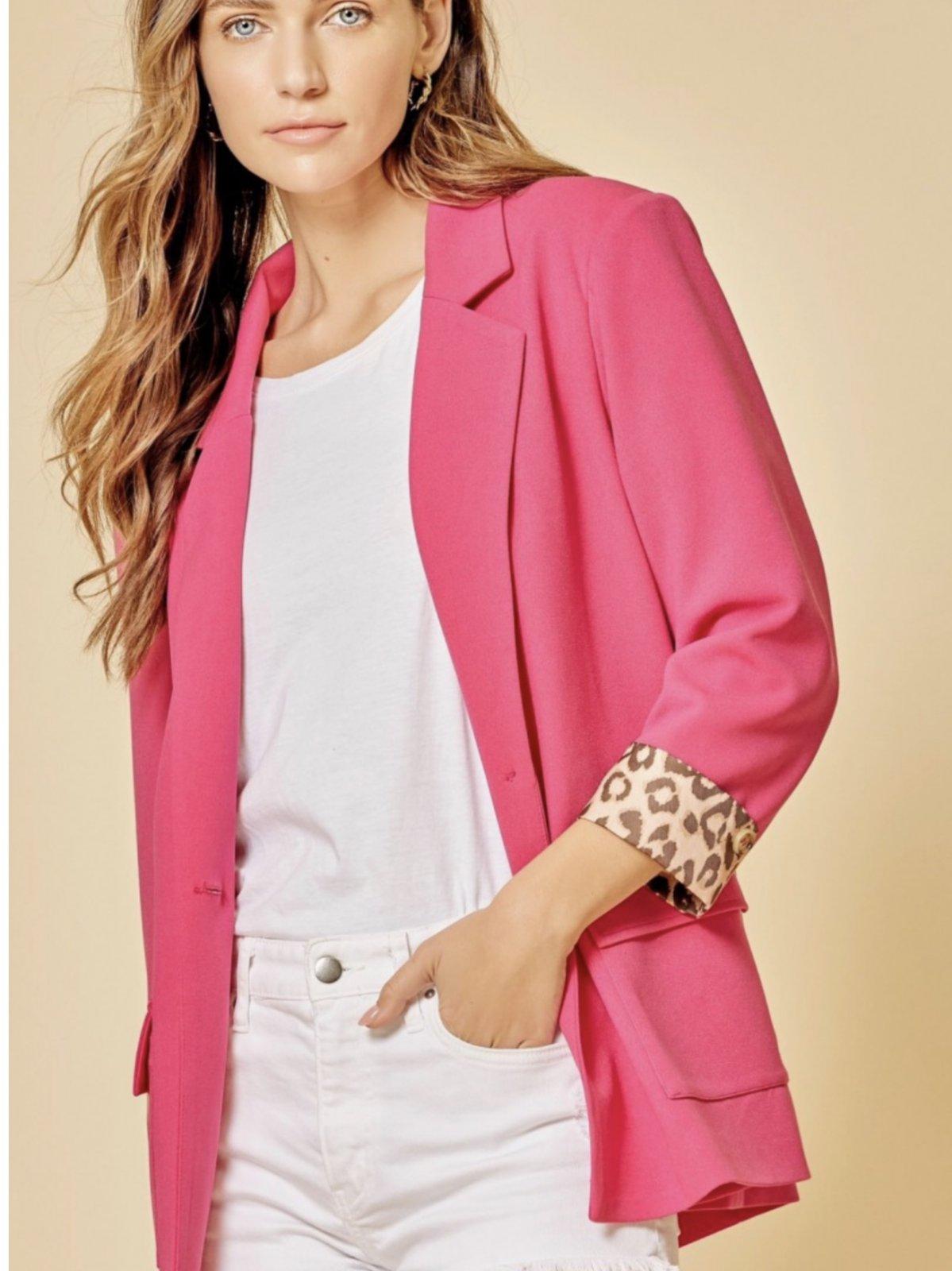 Woven Blazer with Leopard Trim