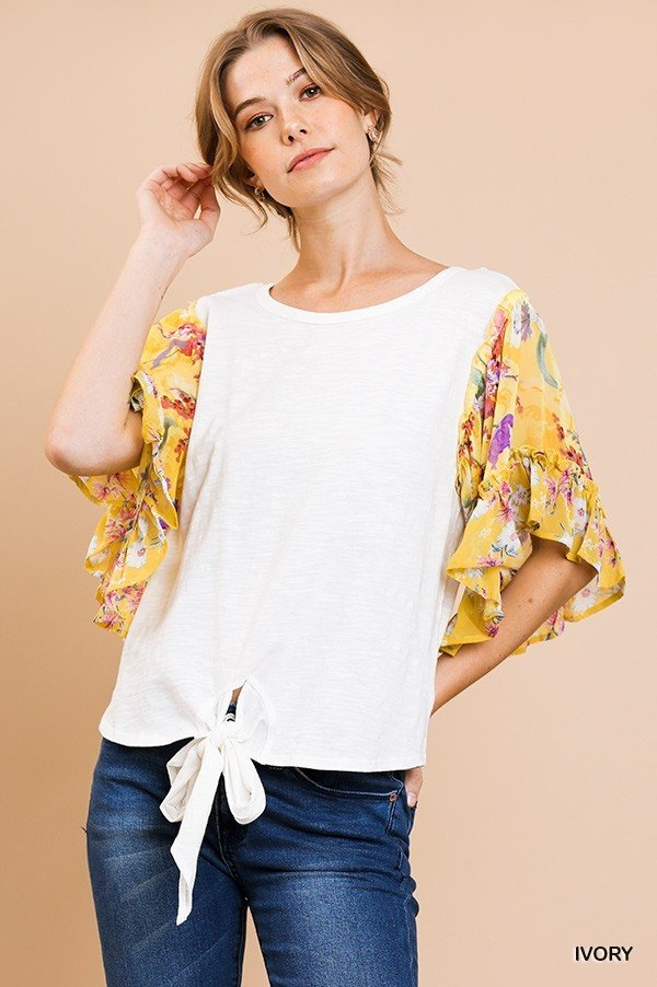 Mixed Floral Tie Front Top from Umgee