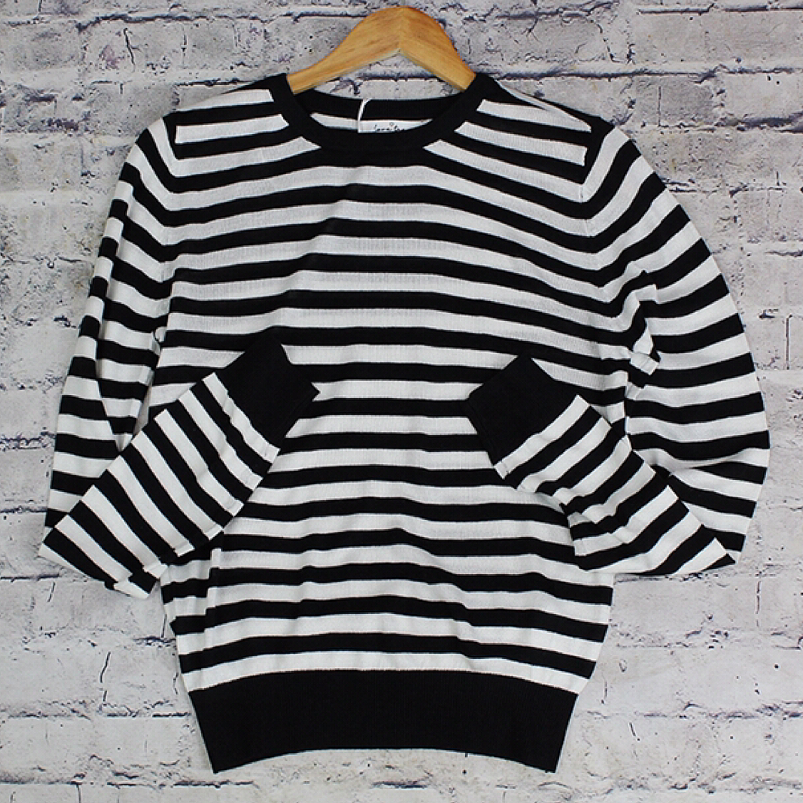 Ladies Long Sleeve Striped Crew Neck Sweater