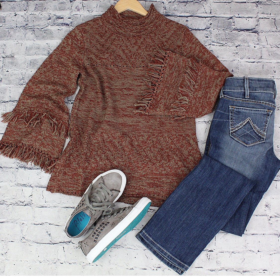 Fringe Bell Sleeve Sweater from Mystree