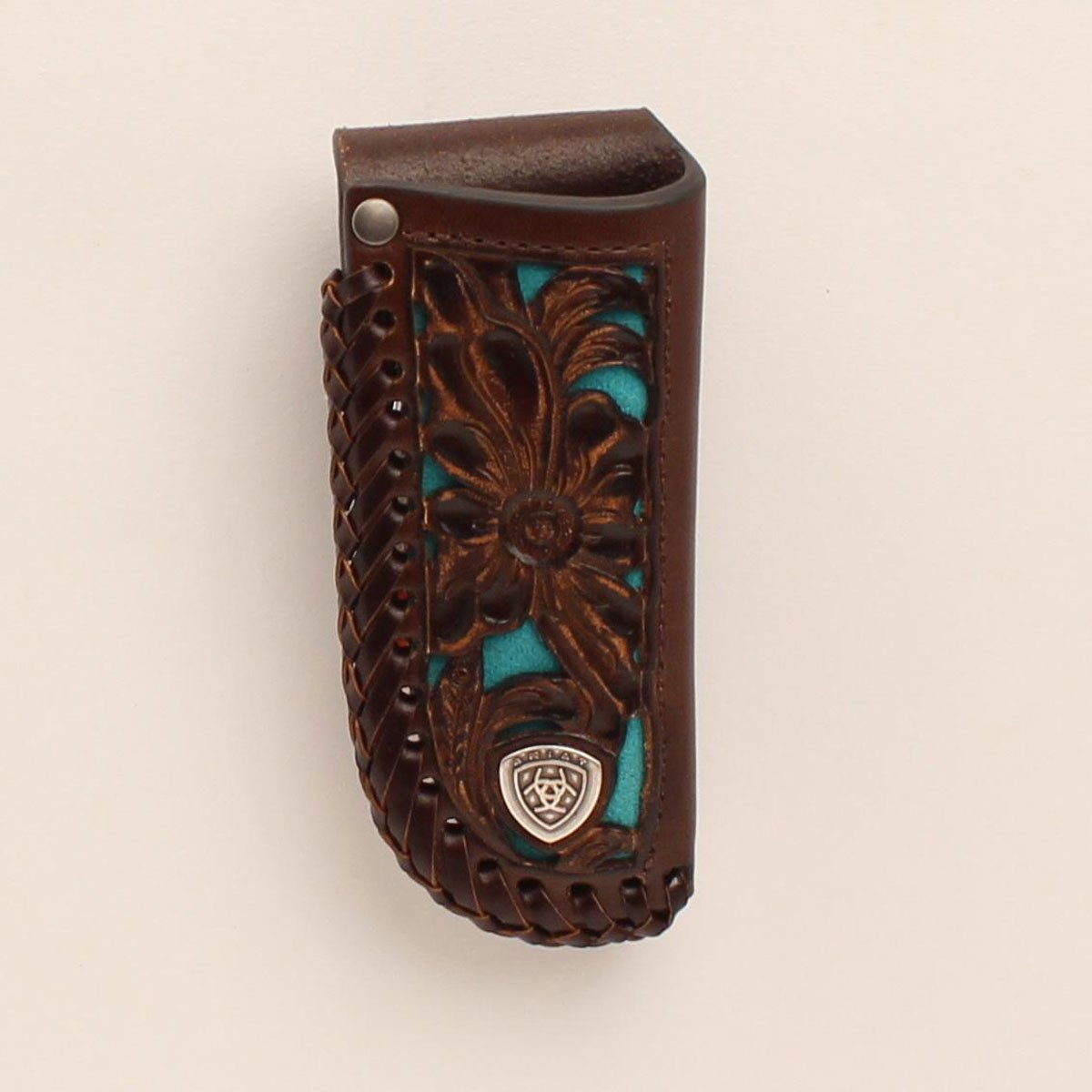 Floral with Turquoise Inlay Leather Knife Sheath from Ariat