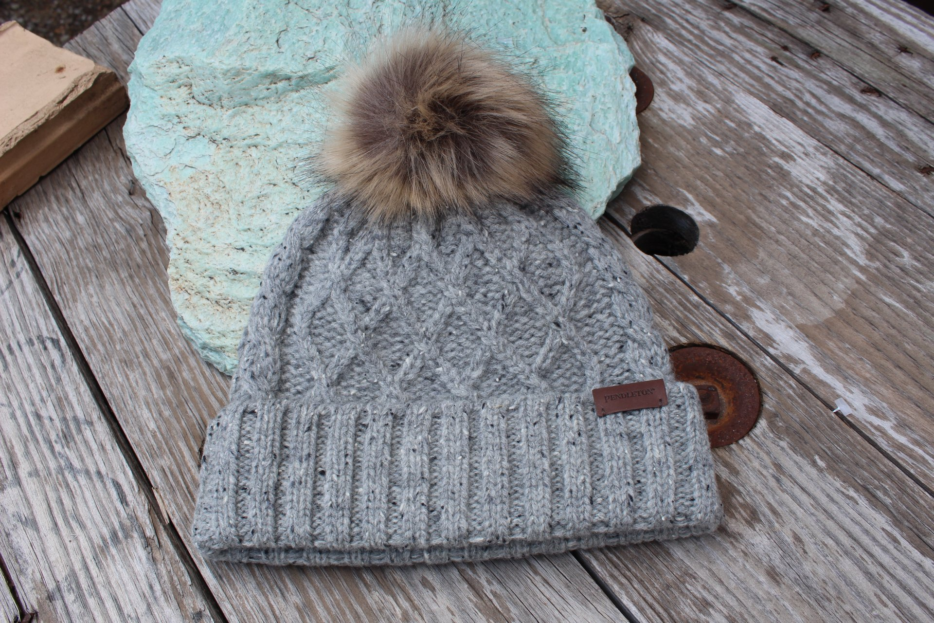 Cable Hat with Fur Pom from Pendleton
