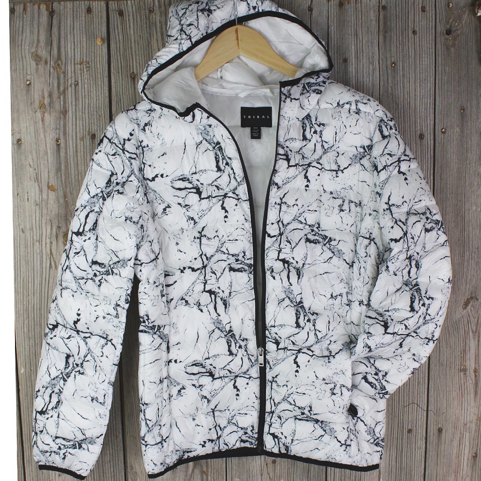 Black & White Puffer Hooded Jacket from Tribal