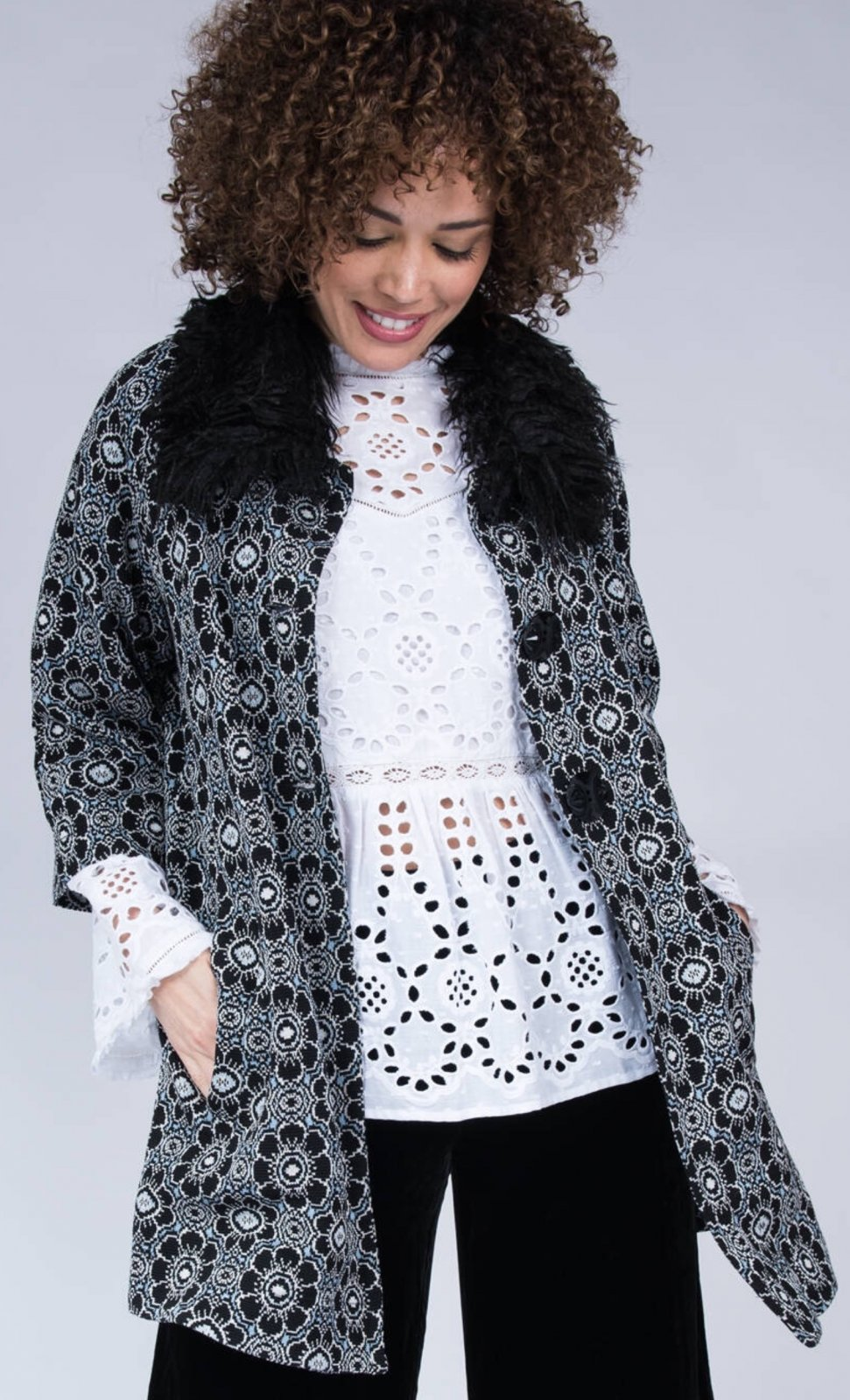 Swing Coat with Fur Collar from Ivy Jane