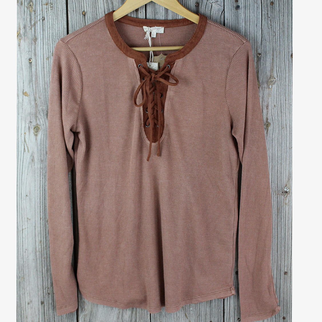 Waffle Knit Top With Tie Front