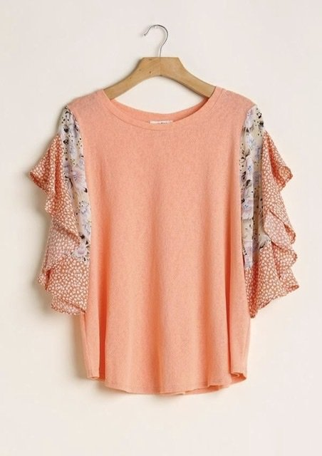 Printed Ruffle Sleeve Top from Umgee