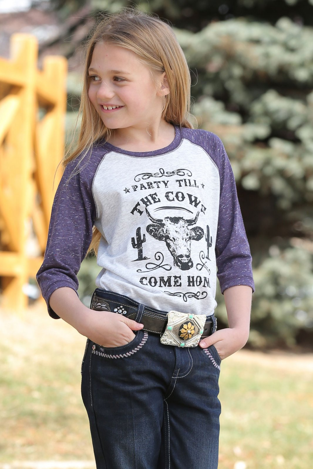 Girls 3/4 Sleeve Raglan T-Shirt
