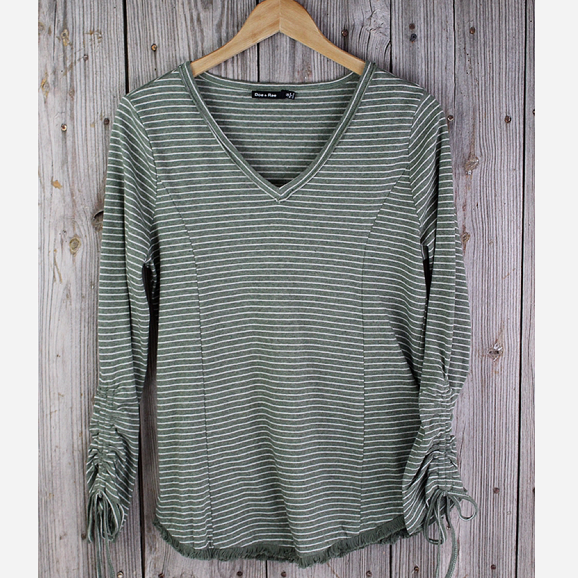 Striped V-Neck with Shirred Sleeve Top