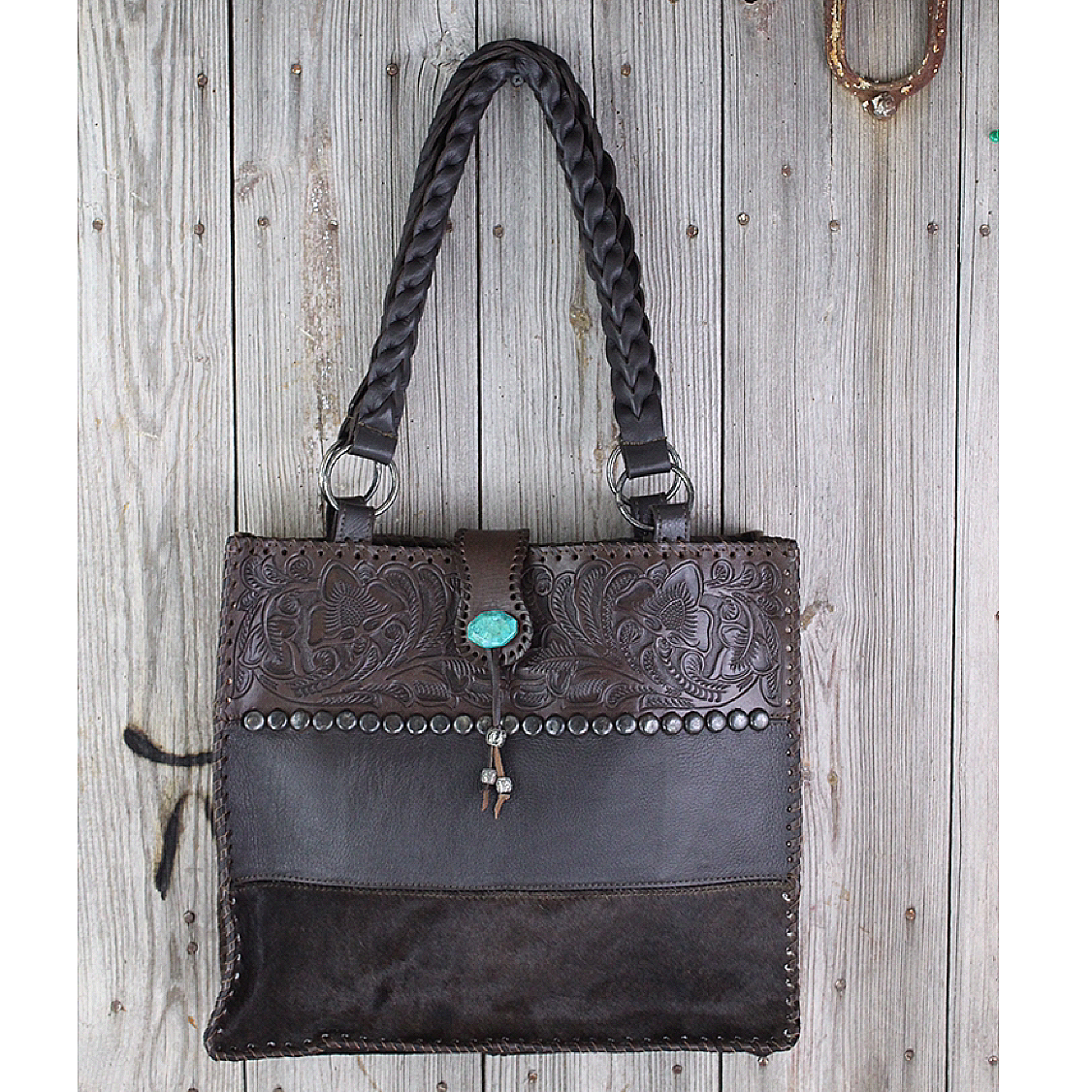 Brown Tri-Color Leather & Cowhide Tote from Paige Wallace
