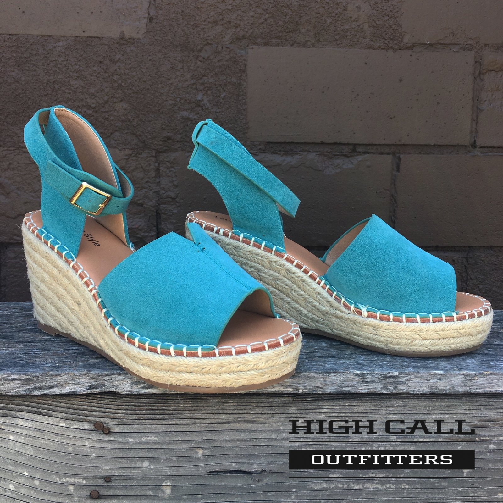 Turquoise Suede Wedge Sandal