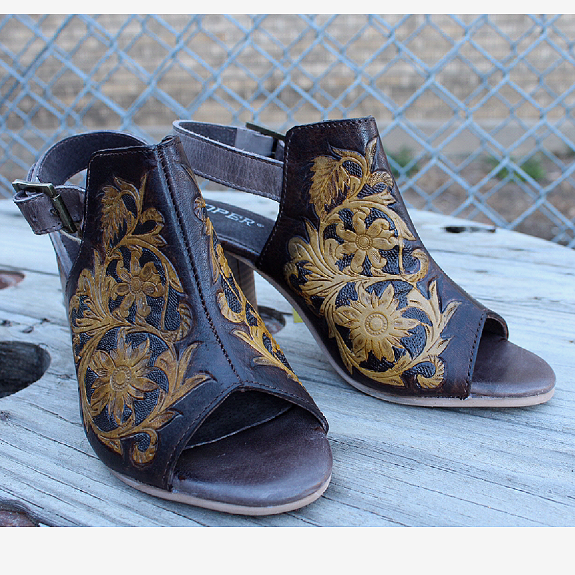 Open Toe Tooled Leather Mule from Roper