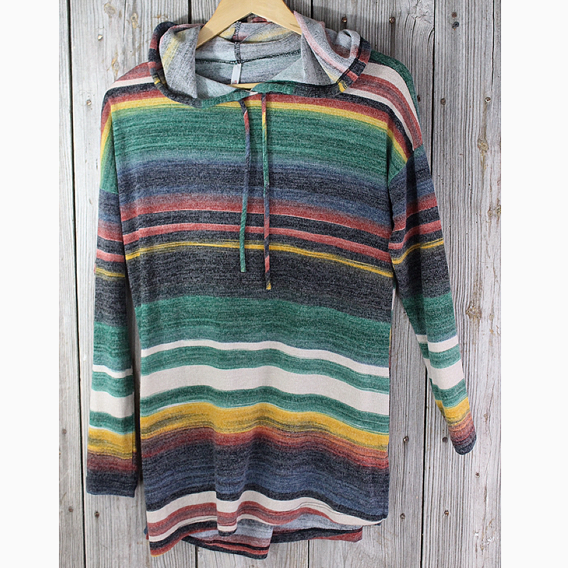 Stripe Pullover Hooded Tunic