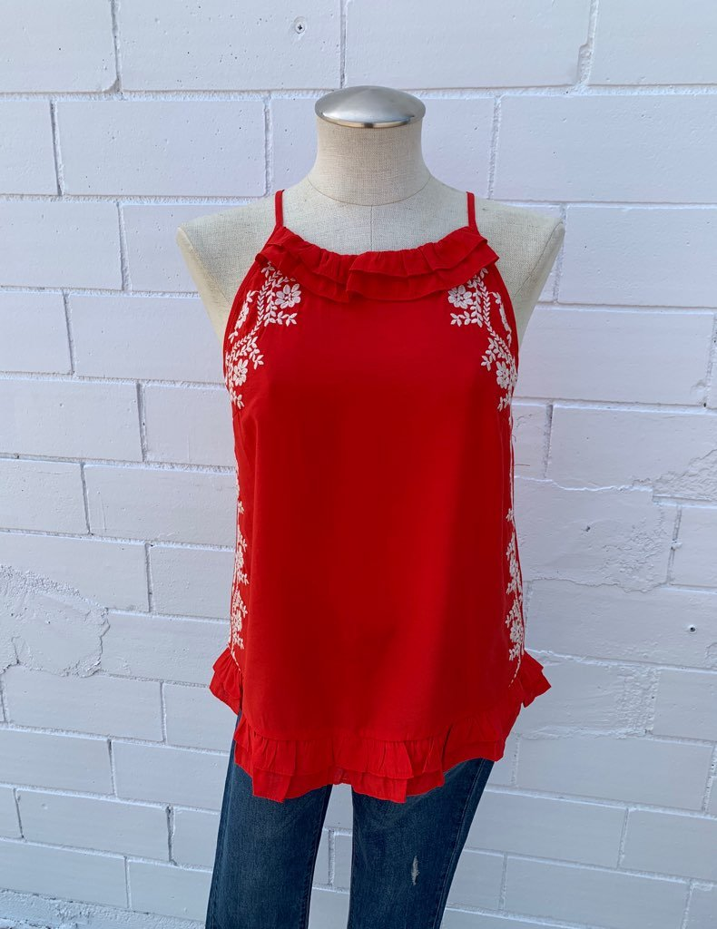 Embroidered Halter Top With Tassels from THML