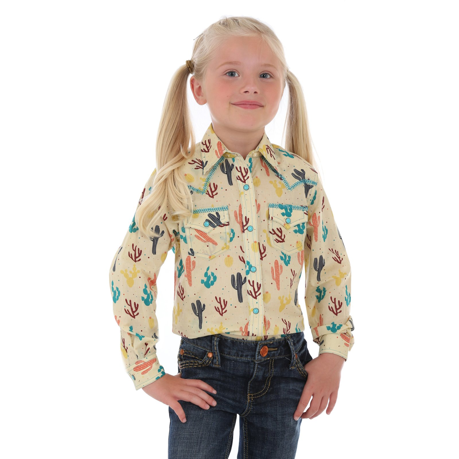 Girls Long Sleeve Pearl Snap Woven from Wrangler