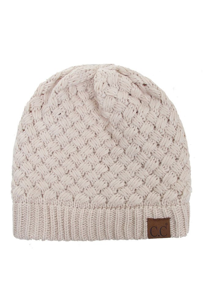 Knitted Basket Weaved Beanie