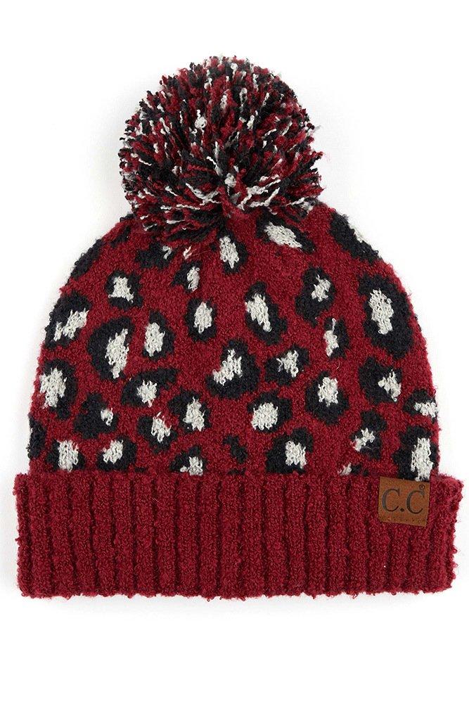 Leopard Jacquard Knit Beanie with Pom
